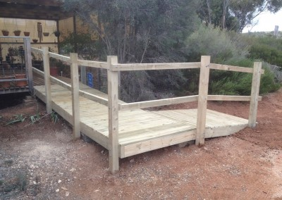 Long timber ramp after